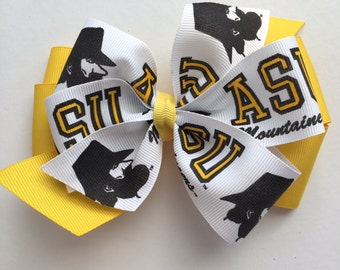 Appalachian State Hair Bow, Appalachian State Bow, Mountaineers Bow, ASU Hair Bow, App State Hair Bow, Yellow and Black Bow, App State Logo
