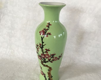 Vintage Oriental green ceramic vase hand painted cherry blossoms
