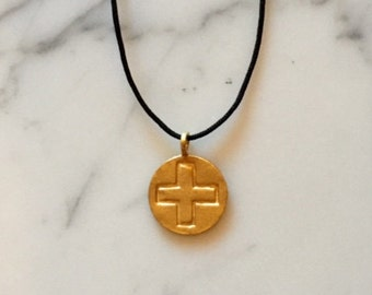 18K Gold Vermeil Cross Charm Disc 14K Gold Filled Cable