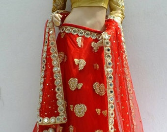 Elegant Sweet Red Lahenga Choli.