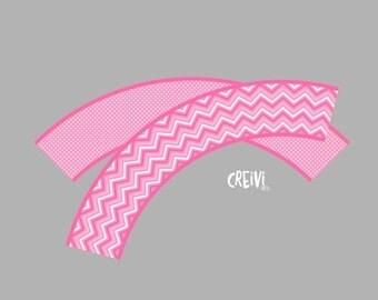 Instant Download Pink Chevron, Polka dots baby shower, Cupcake wrappers, DIY, Printable ( EL014)