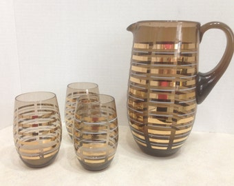 Brown Glass Pitcher with 3 Matching Glasses