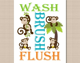 Monkey Bathroom Wall Art, Monkey Bathroom Wall Decor,Monkey Bathroom  Art,Kids Bathroom