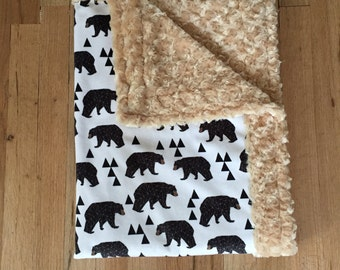 Black Bear Minky Blanket