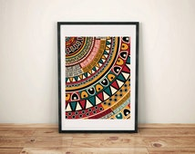 Aztec Pattern, Aztec Art Print, Tribal Print, Southwestern Print, Wall Decor, Hanging Wall Art, Colorful Art Print, Detail Art