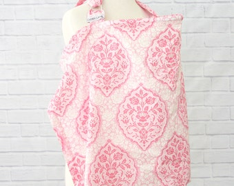 15% OFF SALE - Delaney's Damask | Pink and White Nursing Cover