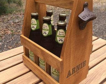 Personalised Beer Carrier, Beer Caddy, Anniversary Gift, Wood Beer Caddy, Groomsmen Gift, Wedding Gift, Groomsmen Gifts