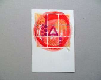 Original watercolor, abstract birthday card, red, gold