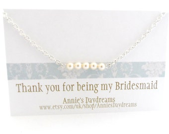 Set of Four Bridesmaid Necklaces -Thank You For Being My Bridesmaid Gift - 4 Cream Pearl Bridesmaid Necklaces