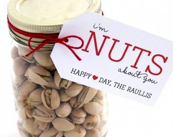 """Valentines day gift tags/ """"I'm nuts about you"""" Happy Valentines day."""