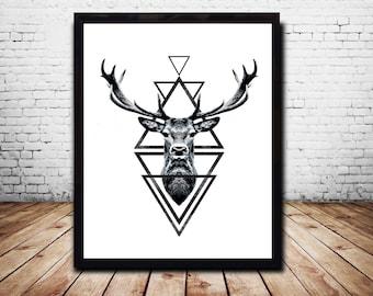 Large  Prints 24 x 36 Stag Head Deer Head Wall Art Print Deer Print Deer Antlers Stag Print Animal Print