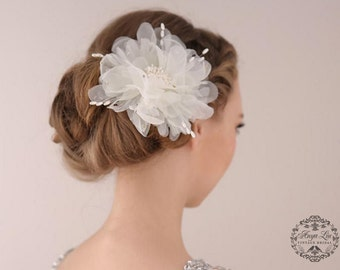 bridal hair flower clip, Ivory lace flower, bridal hair piece