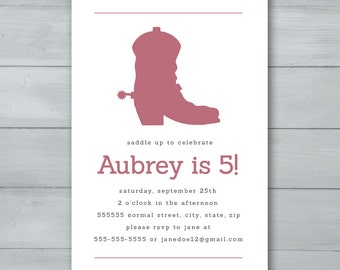 Cowgirl Boot Birthday Party Invitation  |  Cowgirl Invite  |  Cowgirl Boot Invitation