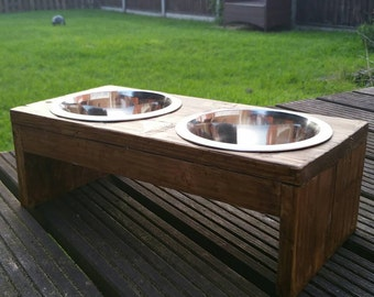 Reclaimed wooden dog bowl  holder (with metal bowls)