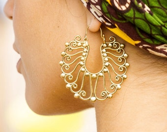 Gypsy Brass Earrings, Large Earrings, Gold Filigree Earrings, Tribal Brass Earrings, Boho Earrings, Indian Earrings, Ethnic Earrings