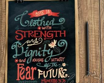 Proverbs 31:25 lettering instant digital download