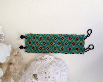 Bead Loom Wide Cuff Bracelet Boho Jewelry  Beaded Tribal Turquoise/green/black/gold