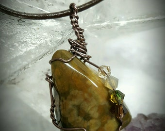 Unakite wire wrapped necklace with crystals