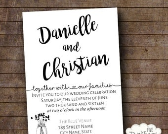 Printable Wedding invitation, Wedding invite, Black & White invitation, printable digital file W102