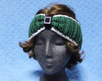 Green & Black, Crochet, Headband, EarWarmer
