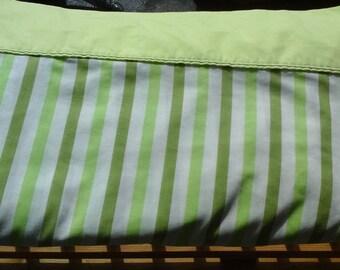 Green Stripe Full Flat Sheet, Double Flat Mid Century Striped Sheet