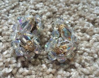 Delicate Austrian crystal wrap a cluster clip on earrings