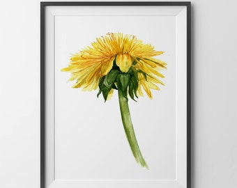 Dandelion  print.dandelion watercolor.baby room wall art.baby room wall decor
