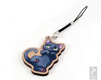 "Chibi Russian Blue Cat - 2"" cherry wooden charm - Cat Illustration charm keychain"