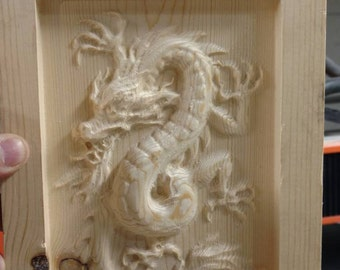 Chinese Dragon 3D wood carving
