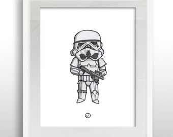 INSTANT DOWNLOAD Star Wars Stormtrooper, 8x10 Print, PRINTABLE Star Wars Stormtrooper, Watercolor Wall Art Print, .pdf file, Ready to Frame