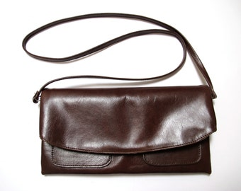 The Clutch Purse with shoulder strap - Aubergine leather