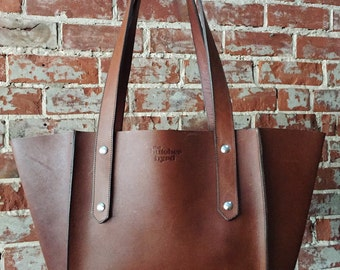 The Small Seamed Tote - Whiskey leather
