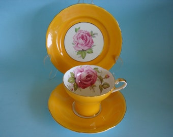 Lovely Vintage AYNSLEY ROSES Yellow Back-ground Corset Cup, Saucer & Side Plate.