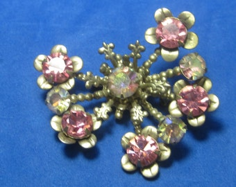 Amazing Vintage Costume Brooch with Gold tone an Pink Jewels