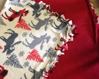 Fleece Winter Moose Blanket - Great gift for anyone - Winter blanket- Christmas blanket- Warm and Cozy