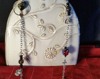 UNIQUE NECKLACE: Silver Chain with African Trade Beads W/ Silver Charms, Upscale Primitive, Unique, Stand Out, Boho, Outstanding Gift