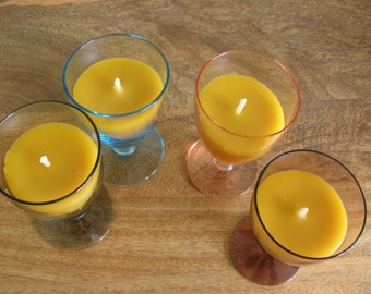 4 x 100% Beeswax Candles in Retro Colour Wine Glasses, Pure Beeswax Candles, Handmade.