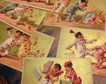 Vintage French cards with funny antics and sayings