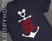 Best Day Ever Disney Cruise Family Vacation Mickey Anchor T-shirt in NAVY BLUE