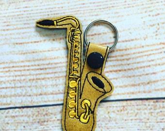 Saxophone keyring / saxophone keyfob / saxophone  bag charm / saxophonist gift / musician gift / saxophonist present
