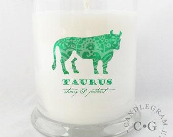 Soy Jar Candle by CandleGram 10oz...Zodiac, Astrological Sign, Taurus