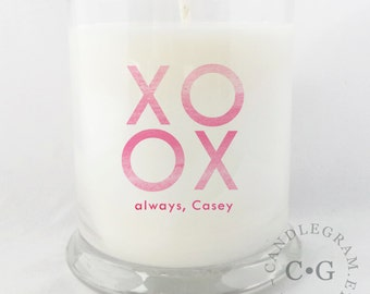CandleGram 10oz Soy Candle....XO Hugs and Kisses