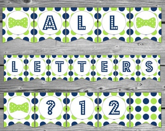 Bow Tie Baby Shower Banner - Navy Blue and Lime Green Baby Shower Bunting - Printable - Instant Download - All Letters & Numbers - DIY - 072