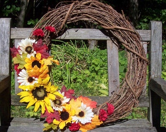 Fall Wreath.  Grapevine Wreath.  Thanksgiving, large 18 inch.  Sunflowers, pretty fall colors.  Wall decor, door wreath, grape vine wreath.