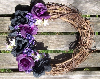 Grapevine Wreath, 14-inch.  Purple and Black Roses, Silk Flowers.  Wall decor, door wreath.