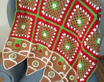Christmas Crocheted Gingerbread House Afghan Throw Blanket ~ Free Domestic Shipping