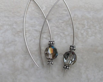 Sterling silver long ear wire with grey Swarovski crystal coating