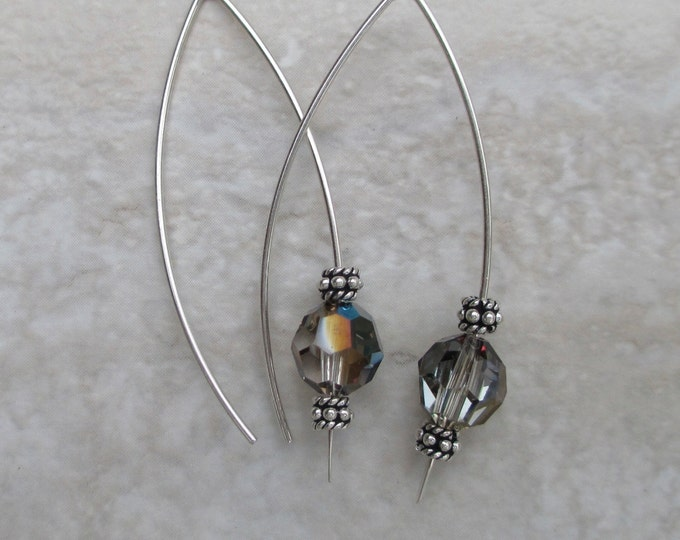 handmade sterling silver long ear wire with grey Swarovski crystal coating