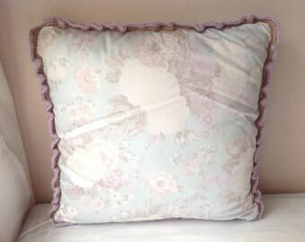 Vintage fabric crochet frill cushion