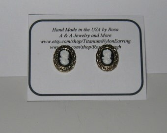 Hypoallergenic Stud/Post,Nickel Free, Button Earrings,Tiny Cameo Earrings, Titanium posts or Nylon Posts
